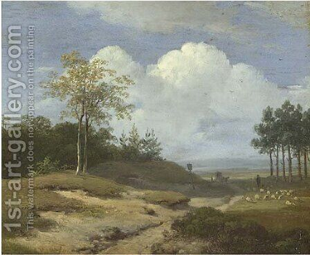 A summer landscape with a shepherd and his flock by Andreas Schelfhout - Reproduction Oil Painting