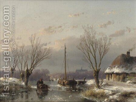 A sunny day in winter by Andreas Schelfhout - Reproduction Oil Painting