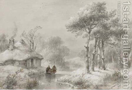A wooded winter landscape with figures by a cottage by Andreas Schelfhout - Reproduction Oil Painting