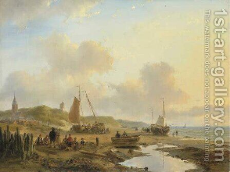 Activities on the beach of Scheveningen by Andreas Schelfhout - Reproduction Oil Painting