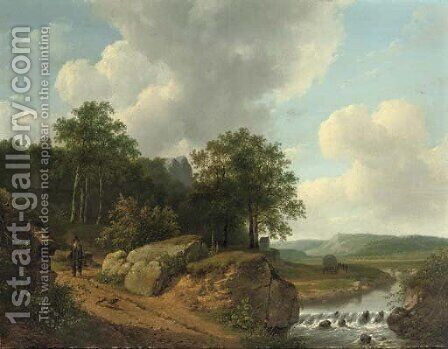 An extensive landscape with a traveller approaching a stream by Andreas Schelfhout - Reproduction Oil Painting