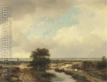 An extensive summer landscape, Haarlem in the distance by Andreas Schelfhout - Reproduction Oil Painting