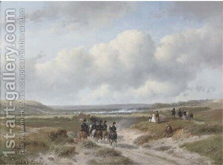 Cavalry on its way to the Ten-day Battle near Hasselt by Andreas Schelfhout - Reproduction Oil Painting