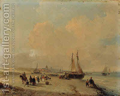 Elegant figures on the beach welcoming the fleet, with Scheveningen beyond by Andreas Schelfhout - Reproduction Oil Painting