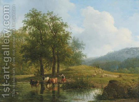 Herding the cattle in summer by Andreas Schelfhout - Reproduction Oil Painting