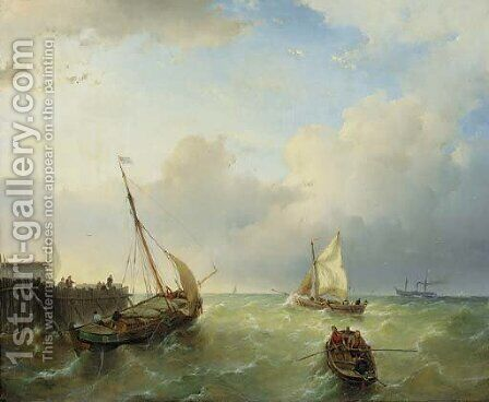 Shipping in stormy water by Andreas Schelfhout - Reproduction Oil Painting