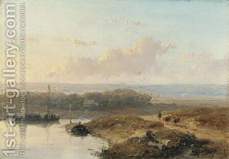 Shipping on a calm river in a panoramic summer landscape by Andreas Schelfhout - Reproduction Oil Painting