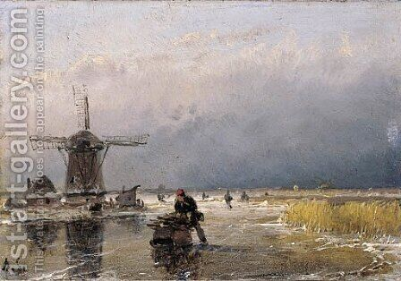 Skaters on a frozen waterway by a windmill by Andreas Schelfhout - Reproduction Oil Painting