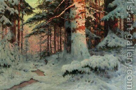 Winter Sunlight in the evergreen Forest by Andrei Nikolaevich Shilder - Reproduction Oil Painting