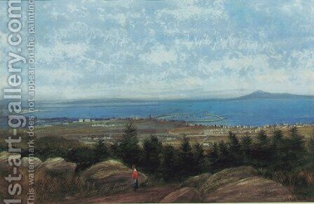 Dun Laoghaire harbour and Dublin Bay from Killiney Hill by Andrew Nicholl - Reproduction Oil Painting