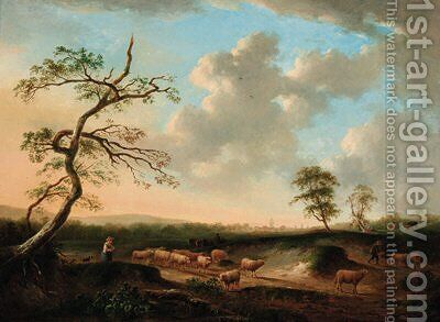 Shepherds with their flocks in an extensive landscape by Andries Vermeulen - Reproduction Oil Painting
