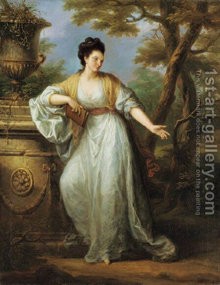 Portrait of Mrs. Mary Pocklington of Winthorpe Hall, Nottinghamshire, full-length, in a white dress with a red sash, holding a book in her left hand, by Angelica Kauffmann - Reproduction Oil Painting