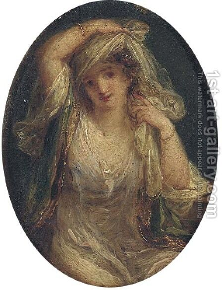 'Fatima the Fair Sultana' a woman in oriental dress, three-quarter-length by Angelica Kauffmann - Reproduction Oil Painting