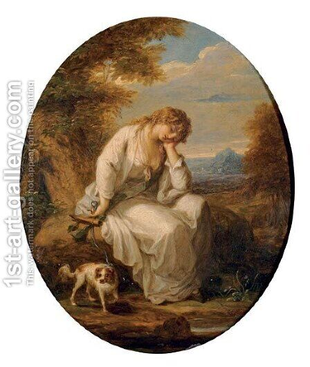 Maria, from Laurence Sterne's A Sentimental Journey through France and Italy by Angelica Kauffmann - Reproduction Oil Painting
