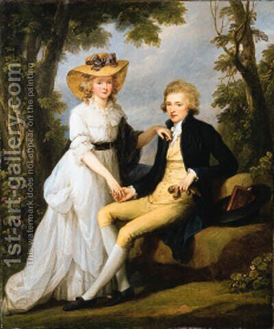 Portrait of Robert Stearne Tighe (1760-1835) of Mitchellstown, co. Westmeath, Ireland, and his wife Catherine by Angelica Kauffmann - Reproduction Oil Painting