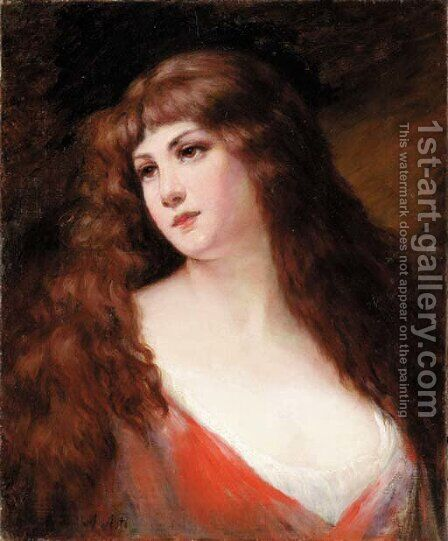 An auburn haired beauty by Angelo Asti - Reproduction Oil Painting
