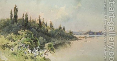 A view of the coast of Corfu by Angelos Giallina - Reproduction Oil Painting