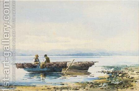 Fishing off the coast of Corfu by Angelos Giallina - Reproduction Oil Painting