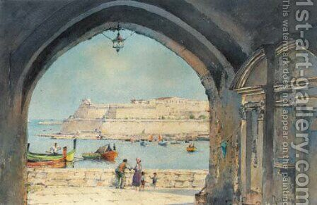 The fortress by the sea, Malta by Angelos Giallina - Reproduction Oil Painting