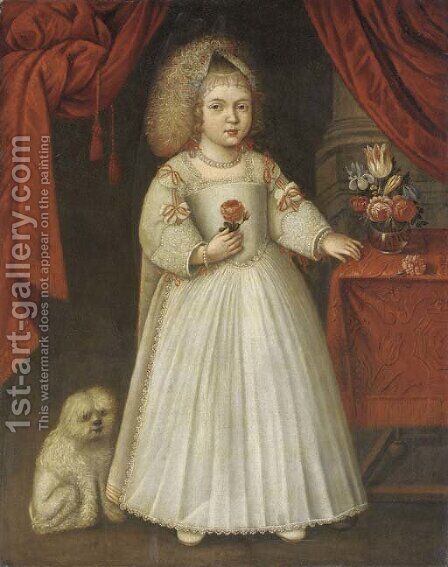 Portrait of a young girl by Anglo-Dutch School - Reproduction Oil Painting