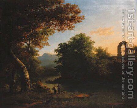 A wooded river landscape with figures and a dog in the foreground and classical ruins beyond by Anglo-Dutch School - Reproduction Oil Painting