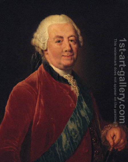 Portrait of a gentleman, half-length, wearing a red coat with a blue order sash, holding a baton by Anna Dorothea Therbusch - Reproduction Oil Painting