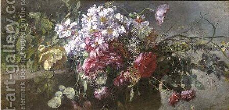 A bouquet of pink and red roses on a ledge by Anna Peters - Reproduction Oil Painting