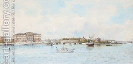A view of Stockholm from the river by Anna Sofia Palm - Reproduction Oil Painting