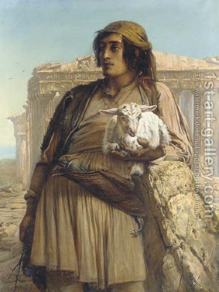 A Shepherd Boy standing before the Parthenon by Anna Maria Elisabeth Jerichau-Baumann - Reproduction Oil Painting