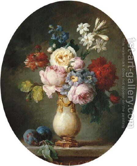 A vase of flowers and two plums on a marble tabletop by Anne Vallayer-Coster - Reproduction Oil Painting