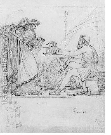Anacreon receiving a Silver Vase from two standing Figures, with a study of a stele An Illustration to Anacreon's Ode XVII by Anne-Louis Girodet de Roucy-Triosson - Reproduction Oil Painting
