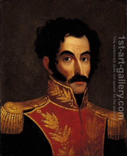 Retrato de Simon Bolivar by Anonymous Artist - Reproduction Oil Painting