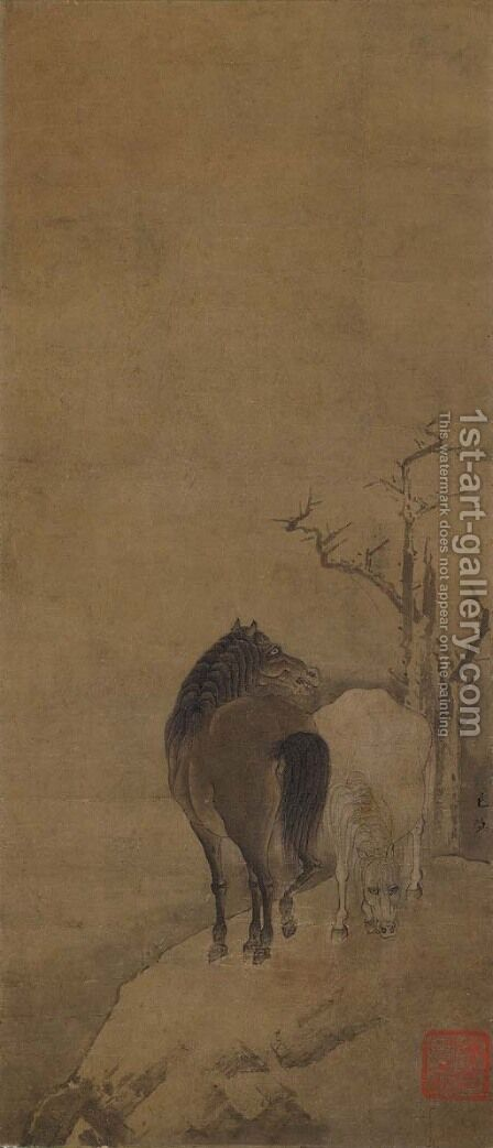 White Horse, Black Horse by Anonymous Artist - Reproduction Oil Painting