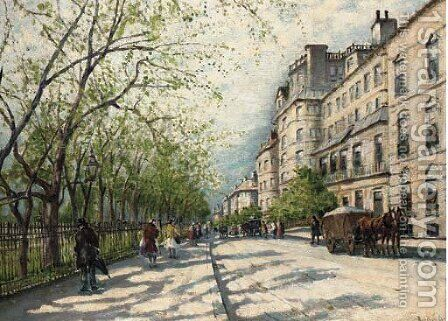 Carriages and figures on a Parisian street by Antal Berkes - Reproduction Oil Painting
