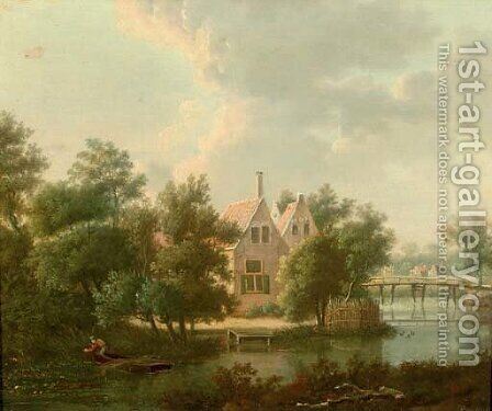 A wooded landscape with houses by a stream, a figure in a boat in the foreground by Anthonie Daniel Prudhomme - Reproduction Oil Painting