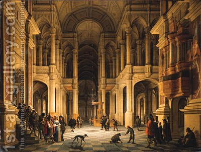The Interior of a Renaissance-style Church at Night with an Elegant Couple making an Entrance by Anthonie De Lorme - Reproduction Oil Painting