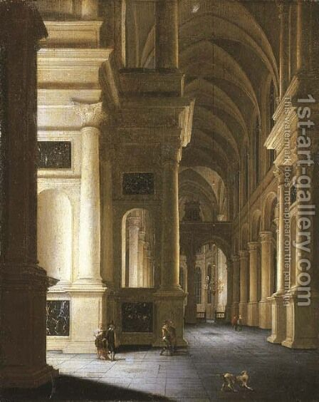Interior of the Sint Laurenskirk, Rotterdam by Anthonie De Lorme - Reproduction Oil Painting