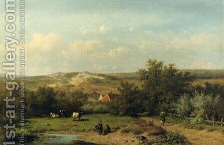 An extensive summer landscape by Anthonie Jacobus van Wyngaerdt - Reproduction Oil Painting