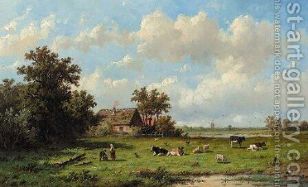 Cattle in a sunlit meadow by Anthonie Jacobus van Wyngaerdt - Reproduction Oil Painting