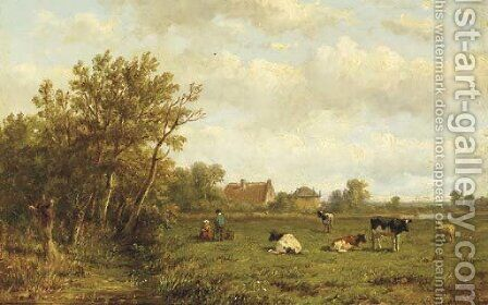 Cows in a meadow by Anthonie Jacobus van Wyngaerdt - Reproduction Oil Painting