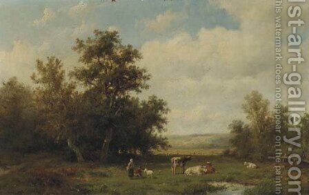 Figures and cattle in a sunlit meadow by Anthonie Jacobus van Wyngaerdt - Reproduction Oil Painting