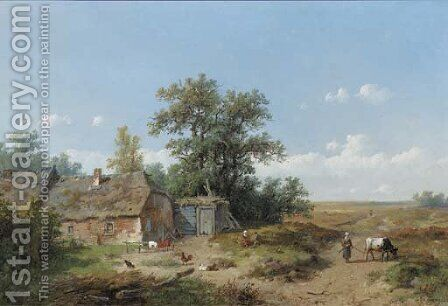 Figures by a farmhouse on the heath by Anthonie Jacobus van Wyngaerdt - Reproduction Oil Painting