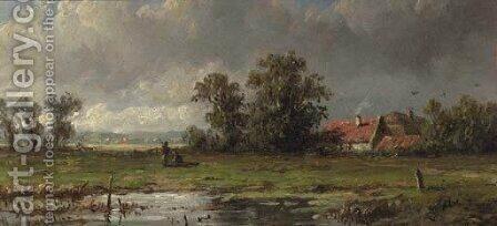 Figures resting in a polder landscape by Anthonie Jacobus van Wyngaerdt - Reproduction Oil Painting