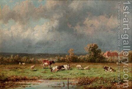 Pasturing cattle by Anthonie Jacobus van Wyngaerdt - Reproduction Oil Painting