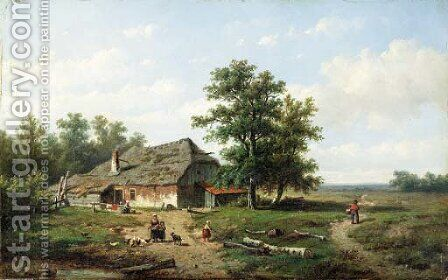 A country cottage by Anthonie Jacobus van Wyngaerdt - Reproduction Oil Painting
