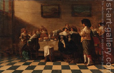 A servant offering a glass of wine to an elegant couple sitting by a table laden with pastries, other company nearby, in an interior by Anthonie Palamedesz. (Stevaerts, Stevens) - Reproduction Oil Painting