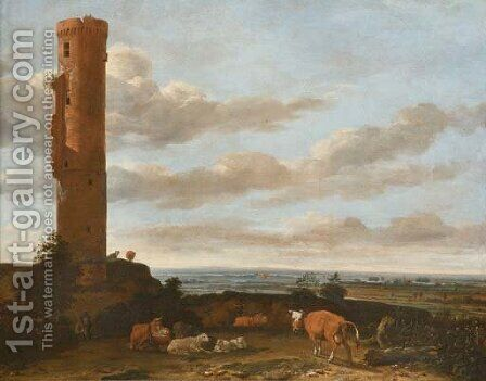 A shepherd with cattle and sheep by a tower in a panoramic landscape by Anthonie Van Borssom - Reproduction Oil Painting