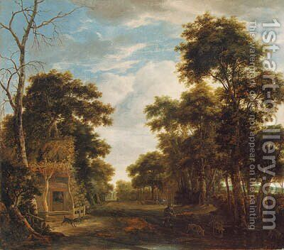 A wooded landscape with a dog barking at a swineherd and pig on a path by Anthonie Waterloo - Reproduction Oil Painting