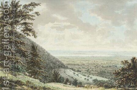 An extensive landscape, Gloucestershire, probably Wotton-under-Edge by Anthony Devis - Reproduction Oil Painting
