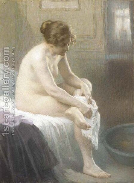 Une femme s'essuyant by Antony Troncet - Reproduction Oil Painting